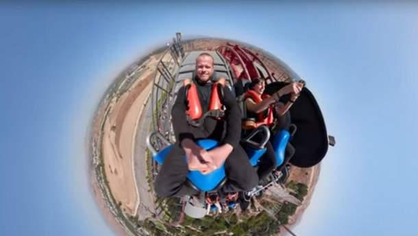Экстремал Джеб Корлисс снял спуск на американских горках на панорамную камеру