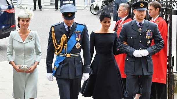 Принц Уильям с Кейт Миддлтон и принц Гарри с Меган Маркл
