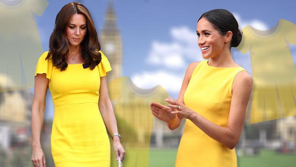 Кейт Міддлтон та Меган Маркл у жовтих сукнях