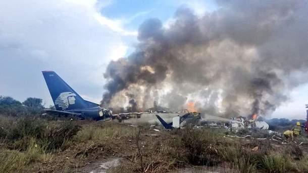 Место падения самолета в Мексике