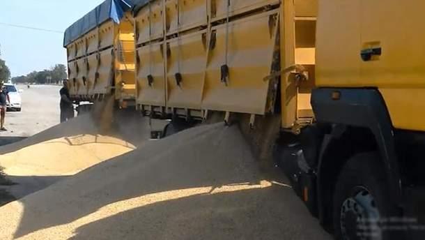 На Миколаївщині зерно з перевантажених фур скинули просто на узбіччя