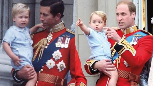 Принц Уильям (слева) и принц Джордж (справа)