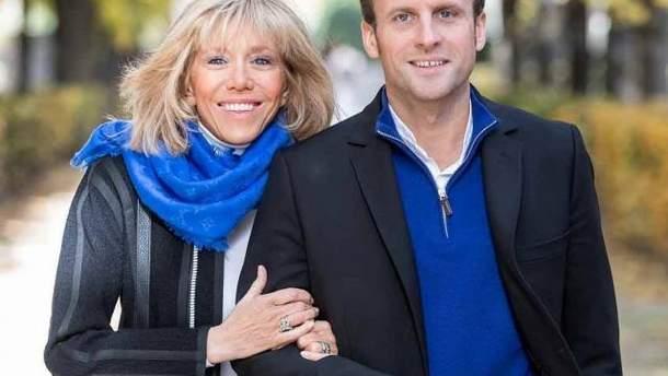 Эммануэль Макрон с женой Бриджит
