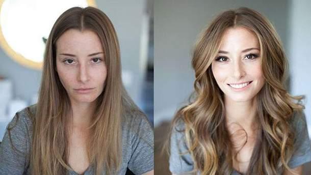 Жінки до і після макіяжу