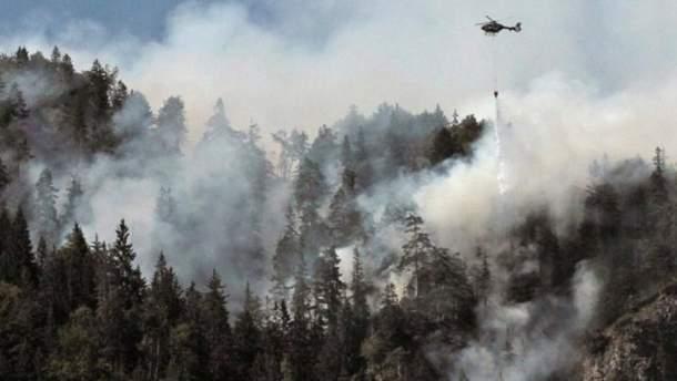 В горах Баварии второй день пылает лесной пожар