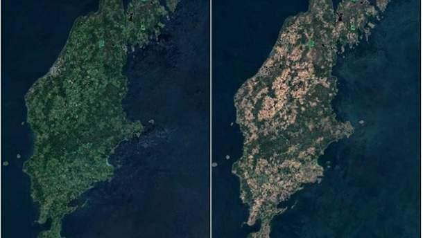Острів Готланд у 2017 (ліворуч) та 2018 (праворуч) роках