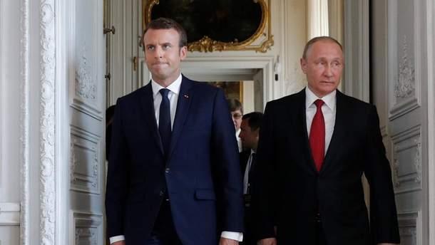 Эммануэль Макрон и Владимир Путин
