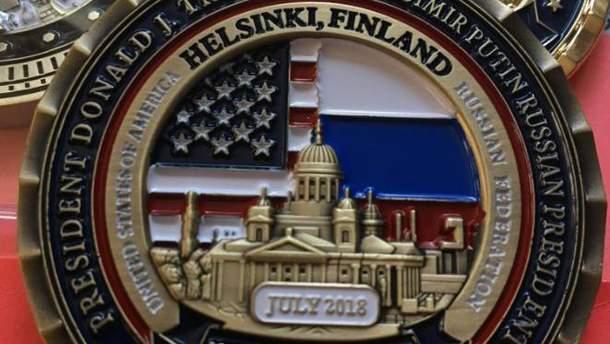 Монета в честь саммита Трампа и Путина в Хельсинки