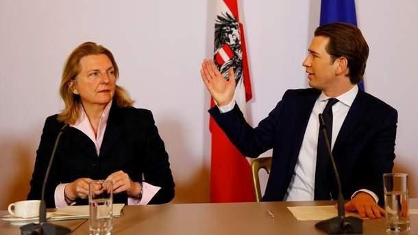 Карін Кнайсль та Себастьян Курц висловлюють суперечливі заяви щодо відносин Австрії з Росією