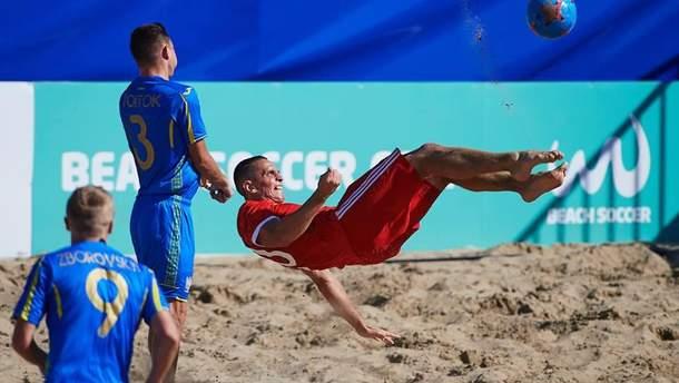 Сборная Украины по пляжному футболу проиграла сборной России