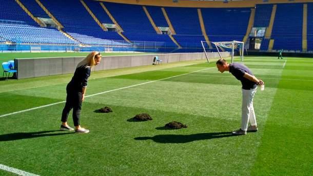 """Кротячі нори на полі стадіону """"Металіст"""" у Харкові"""