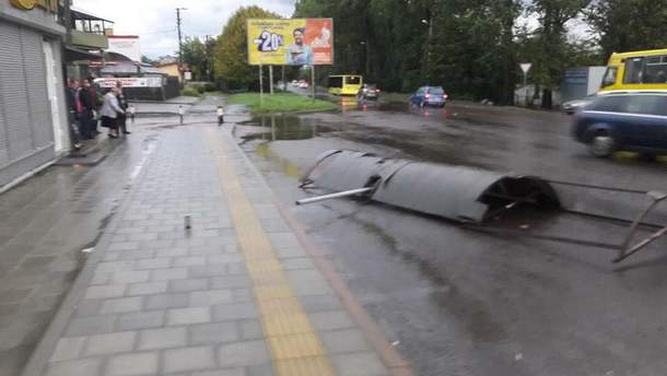 У Львові зранку літали дерева та автобусні зупинки: фото негоди