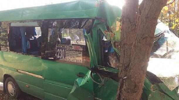 Маршрутка с пассажирами врезалась в дерево в Кривом Роге