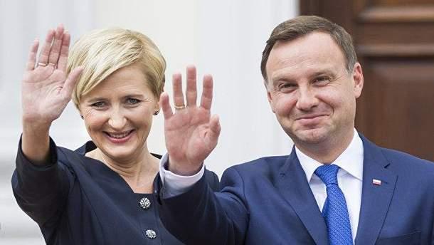 Перша леді Польщі Агата Дуда станцювала перед мітингувальниками у США