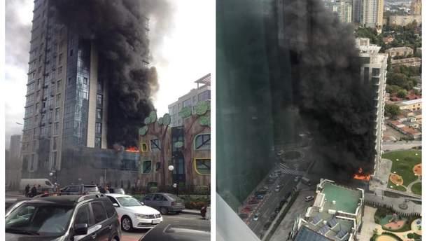 Пожар на Новопечерских Липках в Киеве 28 сентября 2018