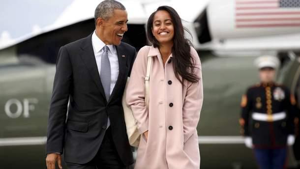 Барак Обама с дочкой