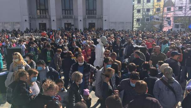 В Мариуполе люди вышли на митинг за чистый воздух