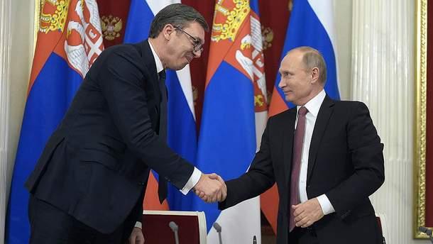Александар Вучич та Володимир Путін