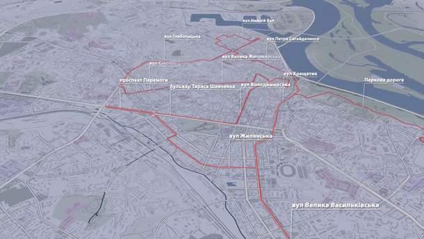 Карта вулиці Києва, що будуть перекритими