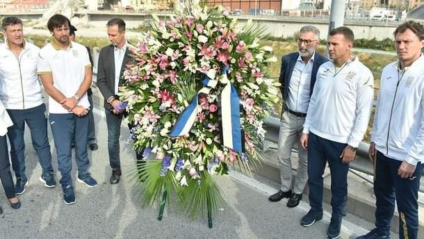 Збірна України вшанувала пам'ять загиблих від обвалу мосту в Італі