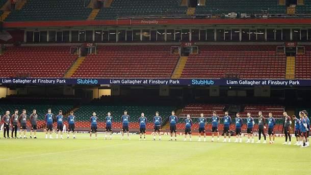 Збірна Іспанії на стадіоні у Кардіффі