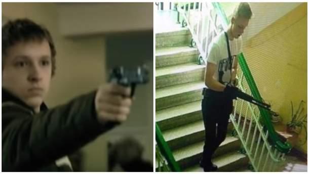 Кадр из клипа Oxxxymiron и фото Влада Рослякова во время массовой бойни
