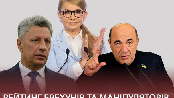 Рабинович, Тимошенко и Бойко возглавили рейтинг лжецов и манипуляторов