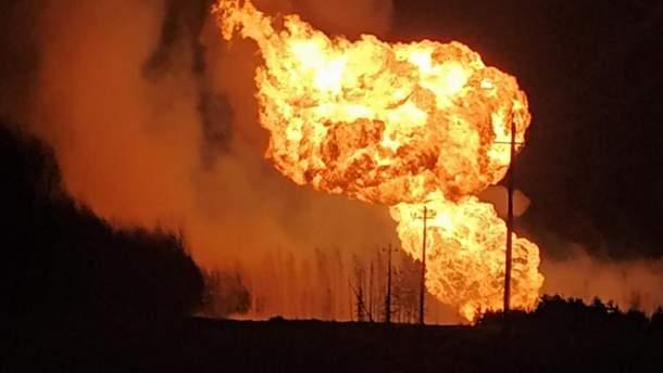 В Рязанской области РФ в результате аварии загорелся газопровод