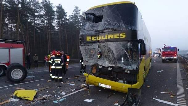 Авария с украинским автобусом в Польше