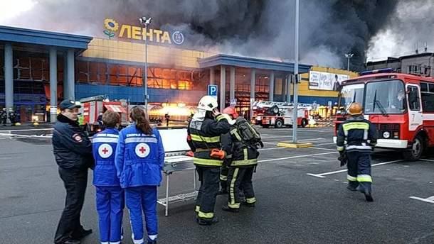 """Пожар в гипермаркете """"Лента"""" в Санкт-Петербурге"""