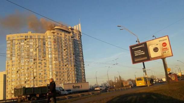 Пожежа на проспекті Героїв Сталінграда в Києві