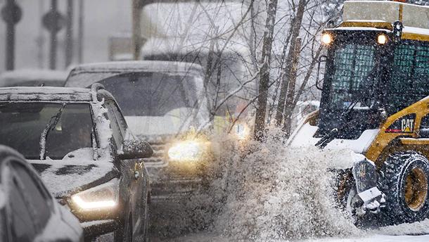 Снег и пробки в Киеве