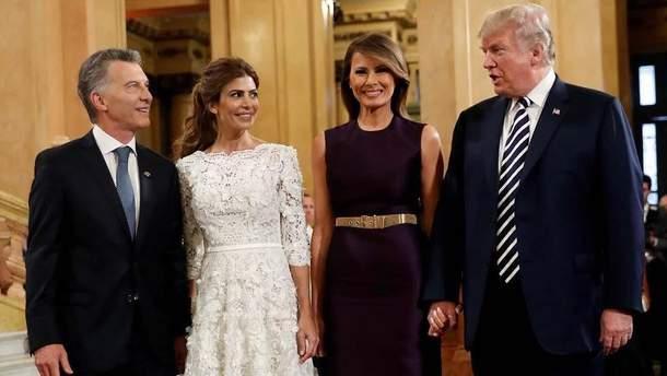 Мелания и Дональд Трамп с президентом Аргентины и его женой