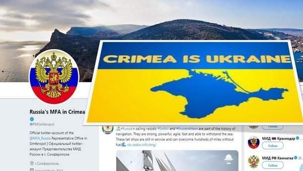 Страница российского дипучреждения в Крыму в Twitter