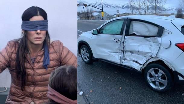 Кадр из фильма и побитая машина школьницы