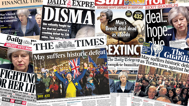 Самое крупное поражение в истории: что британские СМИ пишут о провале Brexit