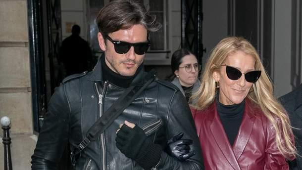 Селин Дион и Пепе Муньос в Париже на Неделе моды