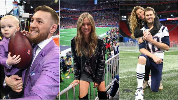 Конор МакГрегор, Жосефин Скривер, Жизель Бюндхен и другие гости Super Bowl-2019