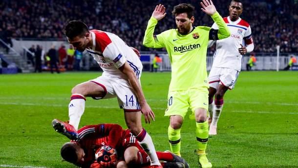 """""""Лион"""" и """"Барселона"""" не сумели определить победителя в матче Лиги чемпионов: видео"""