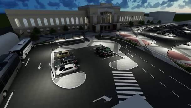 Площа перед вокзалом у Тернополі після ремонту: візуалізація
