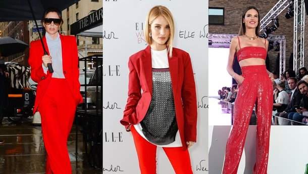 Як носити червоний штанний костюм