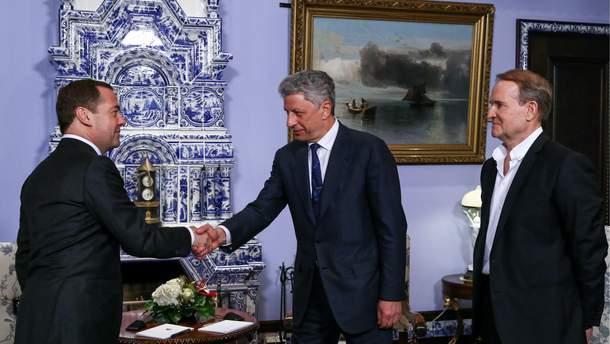 Російський прем'єр зустрівся у Москві із кумом Путіна Медведчуком та Юрієм Бойком
