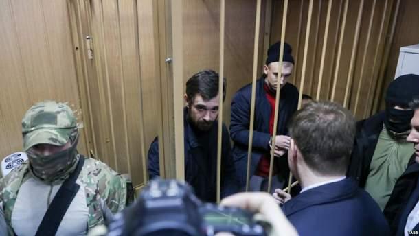 Захваченные украинские военнослужащие в суде в Москве, январь 2019