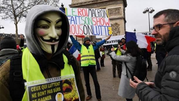 """Во Франции прошла 24-я суббота протестов """"желтых жилетов"""""""