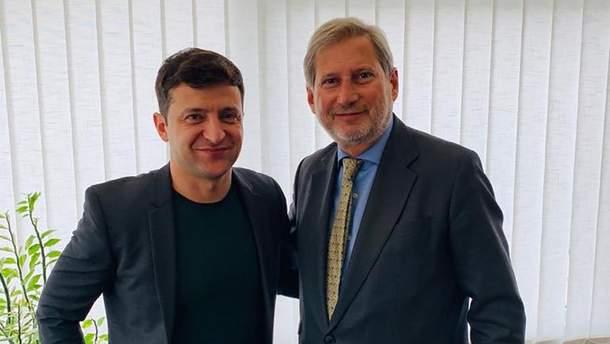Зеленський провів зустріч з єврокомісаром Ганом у Києві