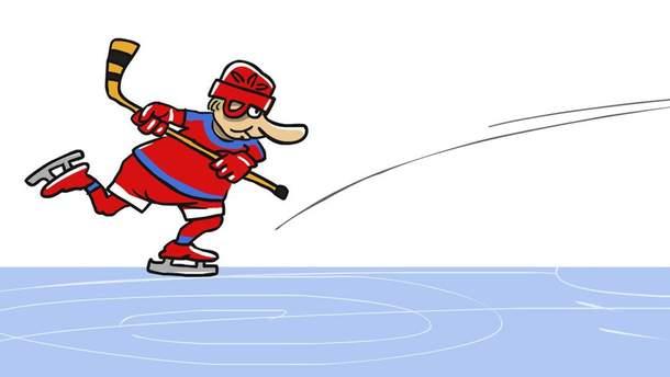 Карикатура на Путина, сыгравшего в хоккей