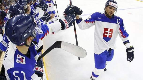 Словацкий хоккеист со злости разбил клюшку о ворота