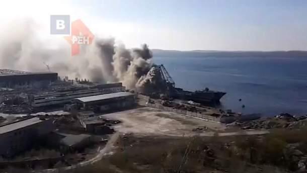 В России горел десантный корабль: видео
