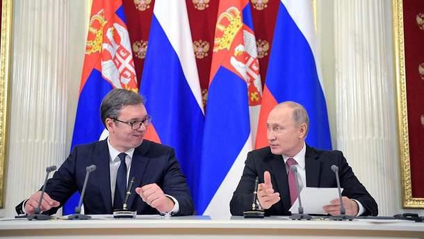 Президент Сербії Александар Вучич та лідер РФ Володимир Путін