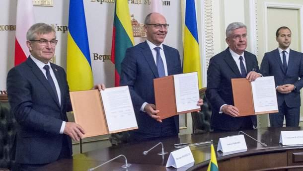 Парубий подписал с главами парламентов Литвы и Польши резолюцию о сроках вступления Украины в ЕС